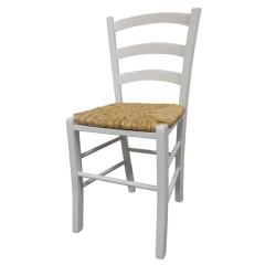 Stol PAESANA bela - pleteno sedišče