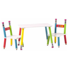 Kids set PENCIL - table and 2x chair